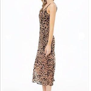 Velvet leopard burnout midi dress
